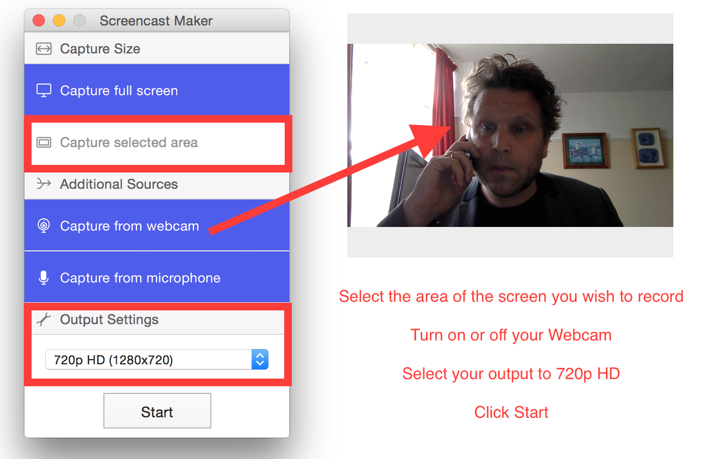 Open the Screencast Maker App - Select screen size and your preferred output and click start.
